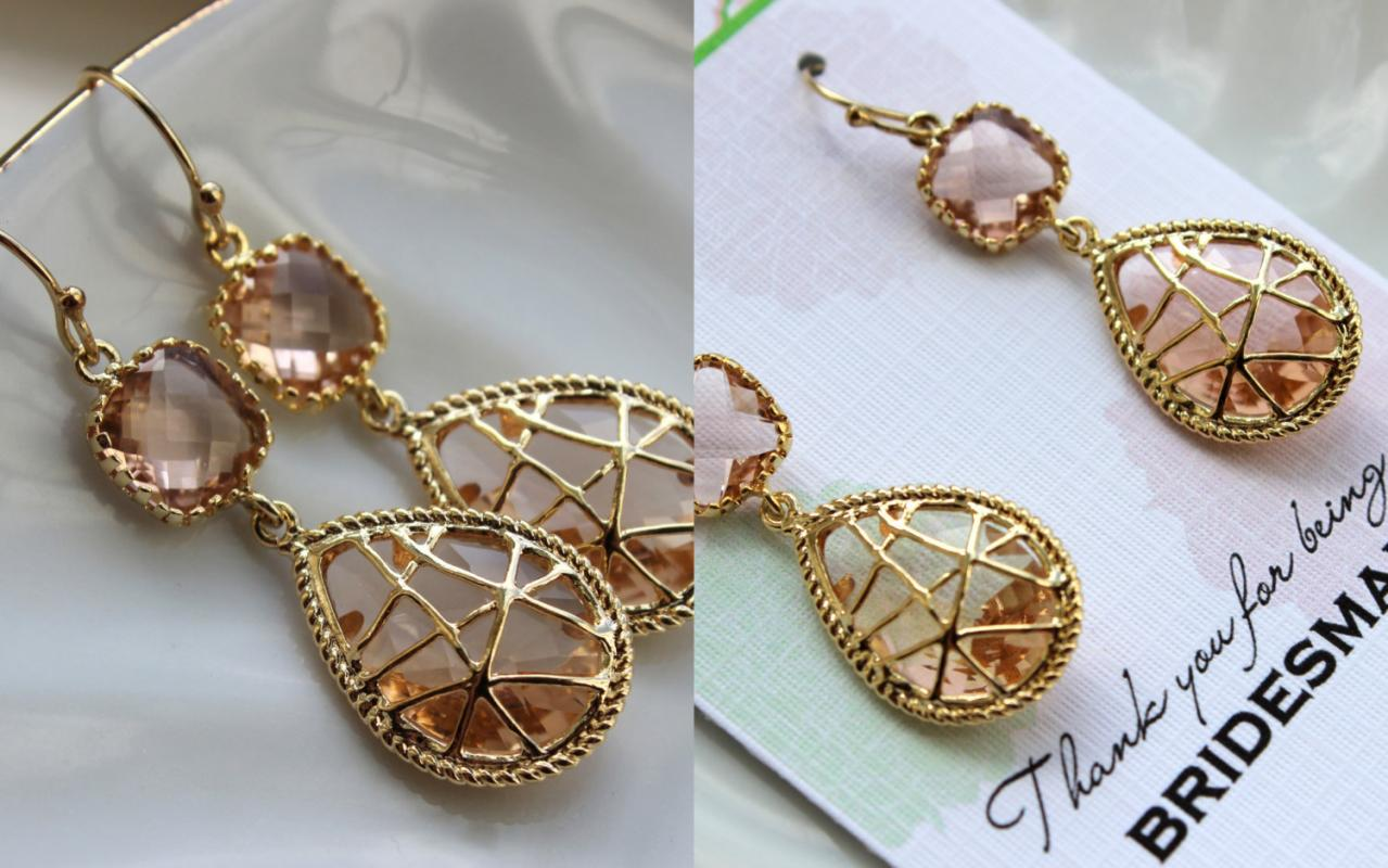 Gold Blush Earrings Twisted Two Tier Champagne Peach
