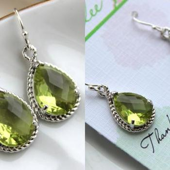 Silver Peridot Earrings Apple Green Wedding Jewelry Peridot Bridesmaid Earrings Gift Peridot Green Bridal Jewelry Personalized Gift Under 25